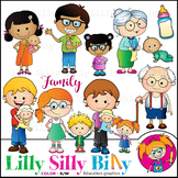 Family. Clipart. BLACK AND WHITE & Color Bundle. {Lilly Silly Billy}