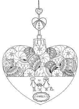 Family Coloring Page from Ornaments of Love Coloring Book