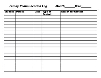 Family Communication Log