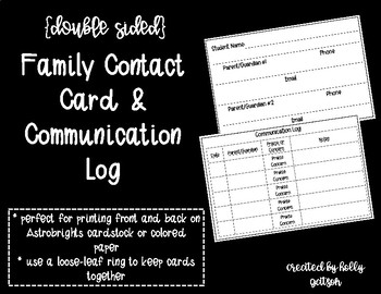 Family Contact Card and Communication Log