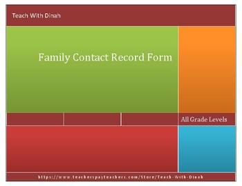 Family Contact Record Form