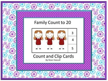 Count and Clip, Family Members, Math Center Kindergarten, Math Center Preschool