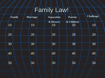 Family Court Family Law Jeopardy Review power point civil law domestic relations