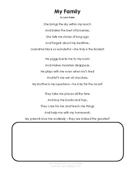 Family Day Resource Pkg - Poems, Puzzle, Family Tree, Writing Template