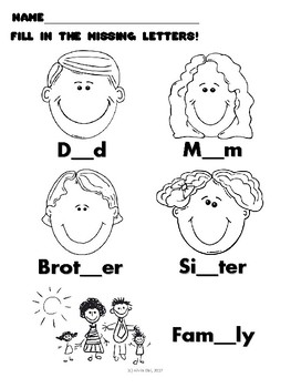 Family Day Worksheets: Word Search/Find the Missing Letters