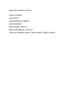 Family Description Paper assignment, Realidades 1 Unit 1 Test (1A, 1B)