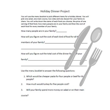 Family Dinner Budgeting and Real Life Multiplication Application