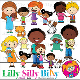 Family Diversity 3. Clipart. BLACK AND WHITE & Color Bundle. {Lilly Silly Billy}