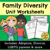 Family Diversity Unit Worksheets Divorce Adoption LGBTQ Parents