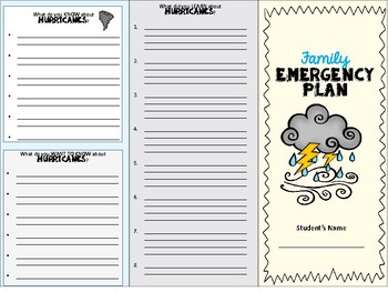 family emergency plan trifold disaster preparedness by my coastal
