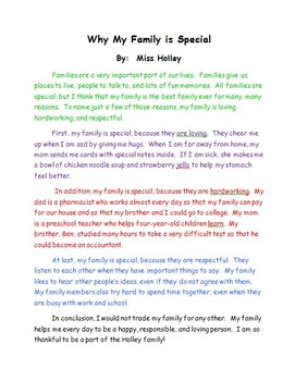 Family Essay Example Teacher Modeling Tool