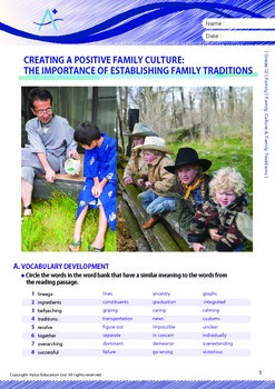 Family - Family Culture & Family Traditions - Grade 12