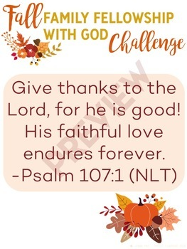 Family Fellowship with God Fall Challenge