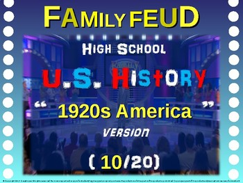 Family Feud! 11th Grade US History review game: 1920s AMERICA (10/20)