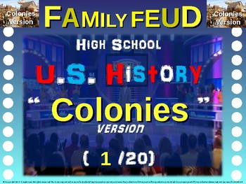 Family Feud! 11th Grade US History review game: COLONIES (1/20)