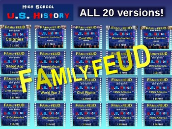 Family Feud! 11th Grade US History review games: All 20 Versions BUNDLE