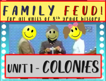 Family Feud! fun 8th Grade U.S. History review game: COLONIES (1/8)
