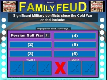 Family Feud! fun World History review game: Cold War (1945-1950s) (8/10)