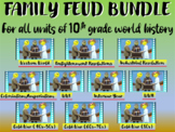 Family Feud! interactive PPT game for High School World History: TEN-UNIT BUNDLE