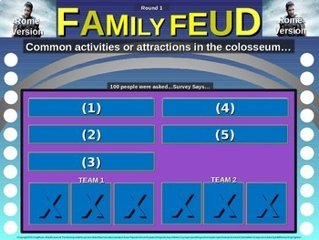 Family Feud interactive game for 7th grade: Americas Version (Maya, Inca, Aztec)