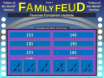 Family Feud! interactive review game: CITIES OF THE WORLD TRIVIA
