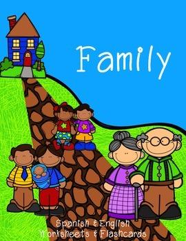 Family Flashcard & Worksheets {Spanish & English}