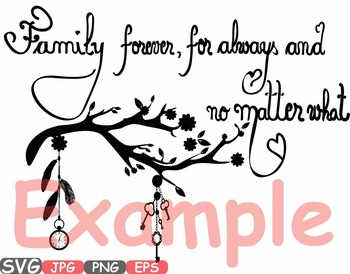 family forever svg word art clipart tree love branches family quote