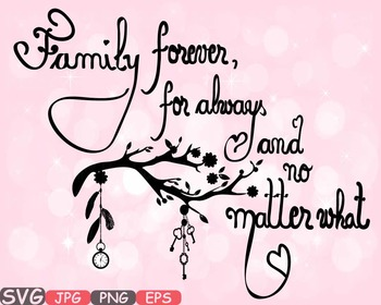 Family Forever SVG Word Art clipart tree love Branches fam