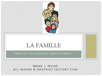 Family French Vocabulary Flashcards