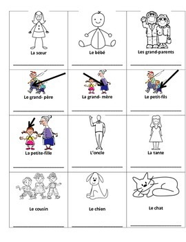 Family French Vocabulary Printing Page