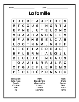 Family french word search puzzle mots cach s fran ais for Anglais facile vocabulaire cuisine