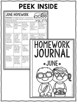 Homework Calendar - Summer Kindergarten Activities