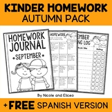 Editable Fall Kindergarten Homework Calendar