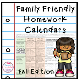 Family Friendly Homework Calendars Fall Edition
