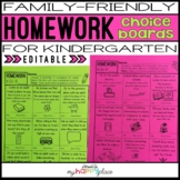 Homework Choice Boards for Kindergarten: Family-Friendly