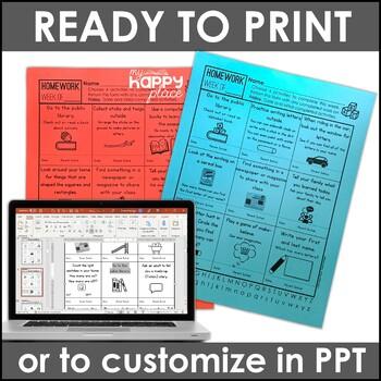 Homework Choice Boards for Kindergarten: Family-Friendly