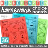 Homework Choice Boards for Kindergarten: Family-Friendly Menus