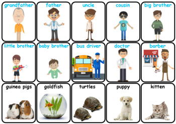 Family & Friends, Pets -  Flash Cards - Game