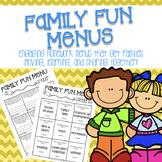 Family Fun Homework Menus