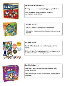 Family Game Night for Language Development