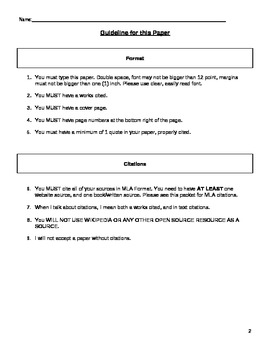 Family History Letter with Research Component (common core)