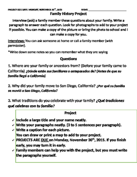 Family History Project {EDITABLE}