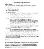 Family History Project and Rubric