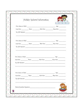 Family Holiday Assistance Letter