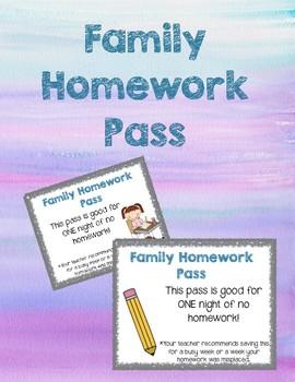 Family Homework Pass