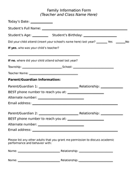 Family Information Form