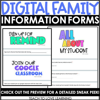 Digital Family Information Forms // Google Forms Edition