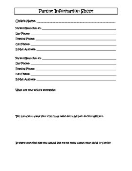Family Information Sheet