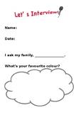 Family Interview Worksheet for kindergartener / pre-school