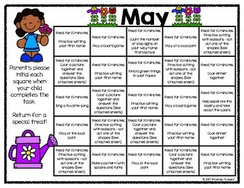 Family Involvement Calendar - May Distance Learning